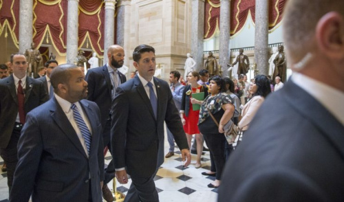 House Speaker Paul Ryan exits the house floor at Capital Hill after speaking about the shooting at the Republican congressional baseball game.