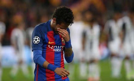 Neymar lamenta eliminação do Barcelona na Liga dos Campeões