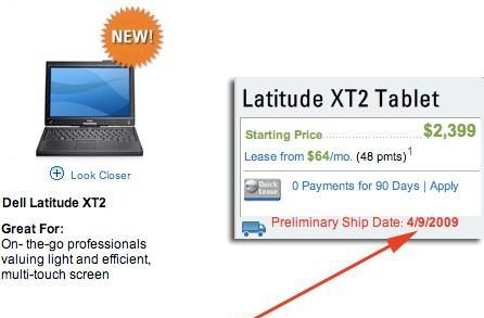 Dell Latitude XT2 multi-touch tablet now shipping... April 9th