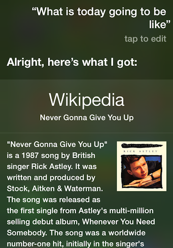 Siri's inexplicable rickroll