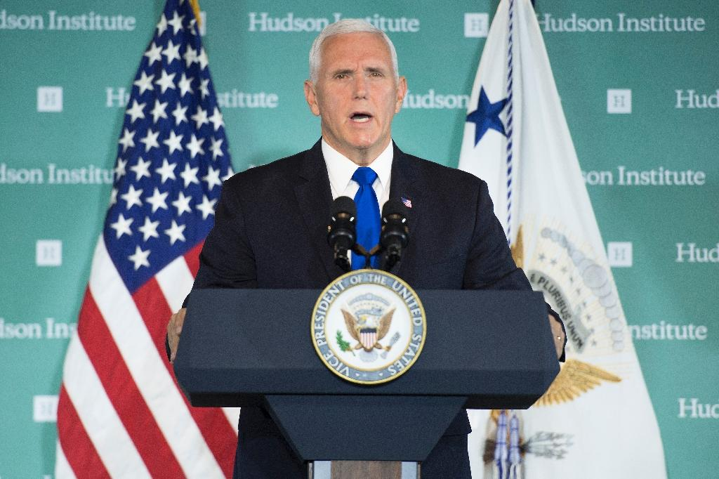 US Vice President Mike Pence, pictured in Washington on October 4, 2018, called on Saudi Arabia to extradite suspects to Turkey to face justice over Jamal Khashoggi's death