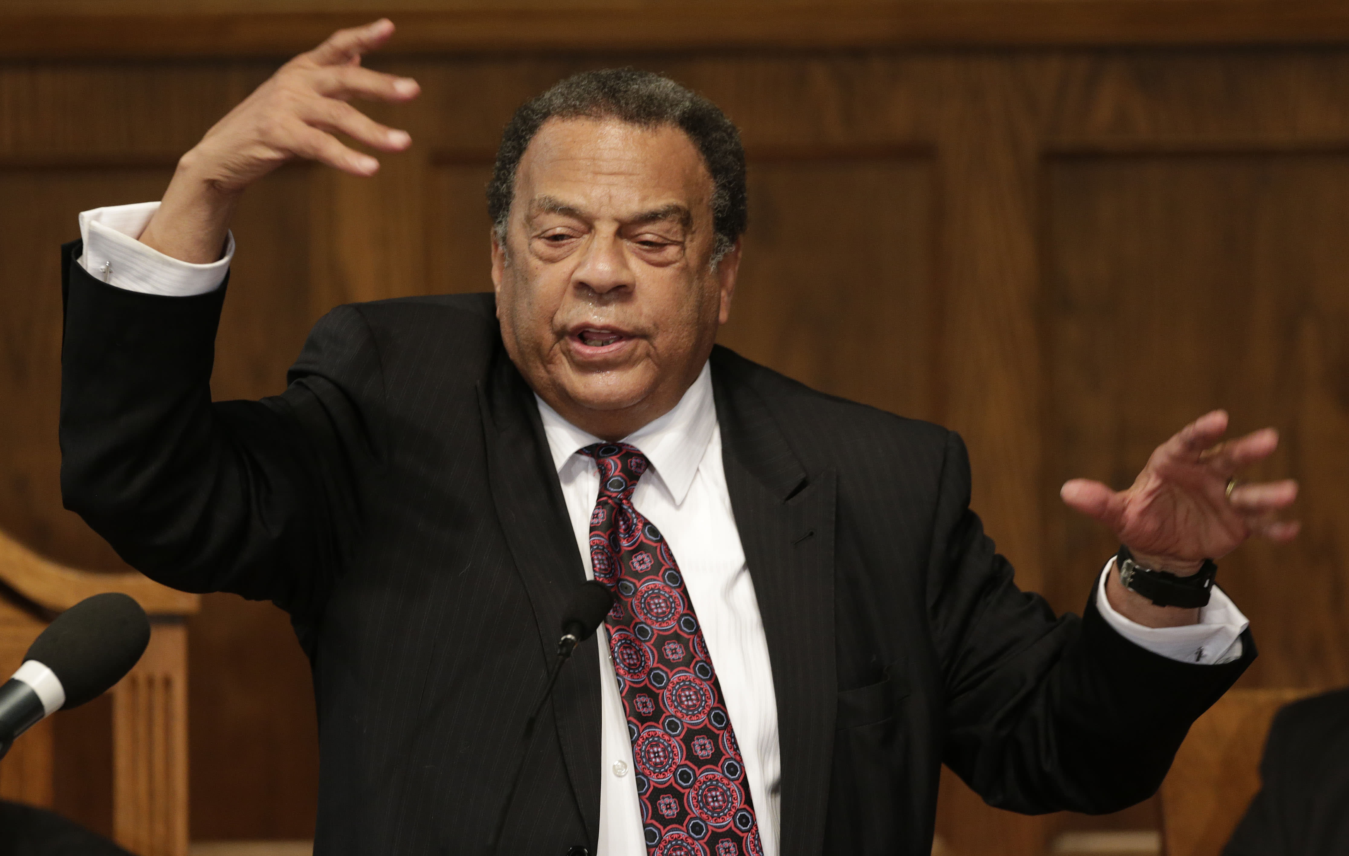 Former UN ambassador Andrew Young addresses the congregation at the 16th Street Baptist Church in Birmingham, Ala., Sunday, Sept. 15, 2013. The church held a ceremony honoring the memory of the four young girls who were killed by a bomb placed outside the church 50 years ago by members of the Ku Klux Klan. (AP Photo/Dave Martin)