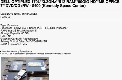 NASA's shuttle PCs sold with sensitive data intact, insert WikiLeaks joke here