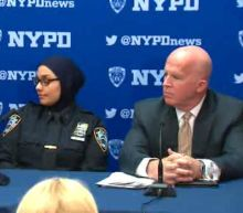 Muslim NYPD officer joins mayor and police commissioner following threats in Bay Ridge, Brooklyn