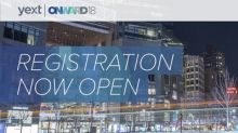 Yext Announces Registration and Early Bird Pricing for ONWARD18