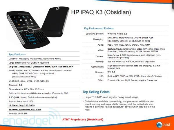 """HP triumphantly returns to AT&T with iPAQ K3 """"Obsidian"""""""