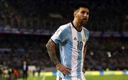 El delantero y capitán de la selección argentina de fútbol, Lionel Messi, en su encuentro como local frente a Chile por las eliminatorias sudamericanas para el Mundial de Rusia 2018 en Buenos Aires