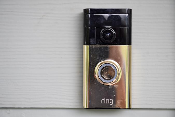 HAMILTON, VA - AUGUST 19: The Ring Video Doorbell is seen outside the Lauterette home on Wednesday August 19, 2015 in Hamilton, VA. (Photo by Matt McClain/The Washington Post via Getty Images)