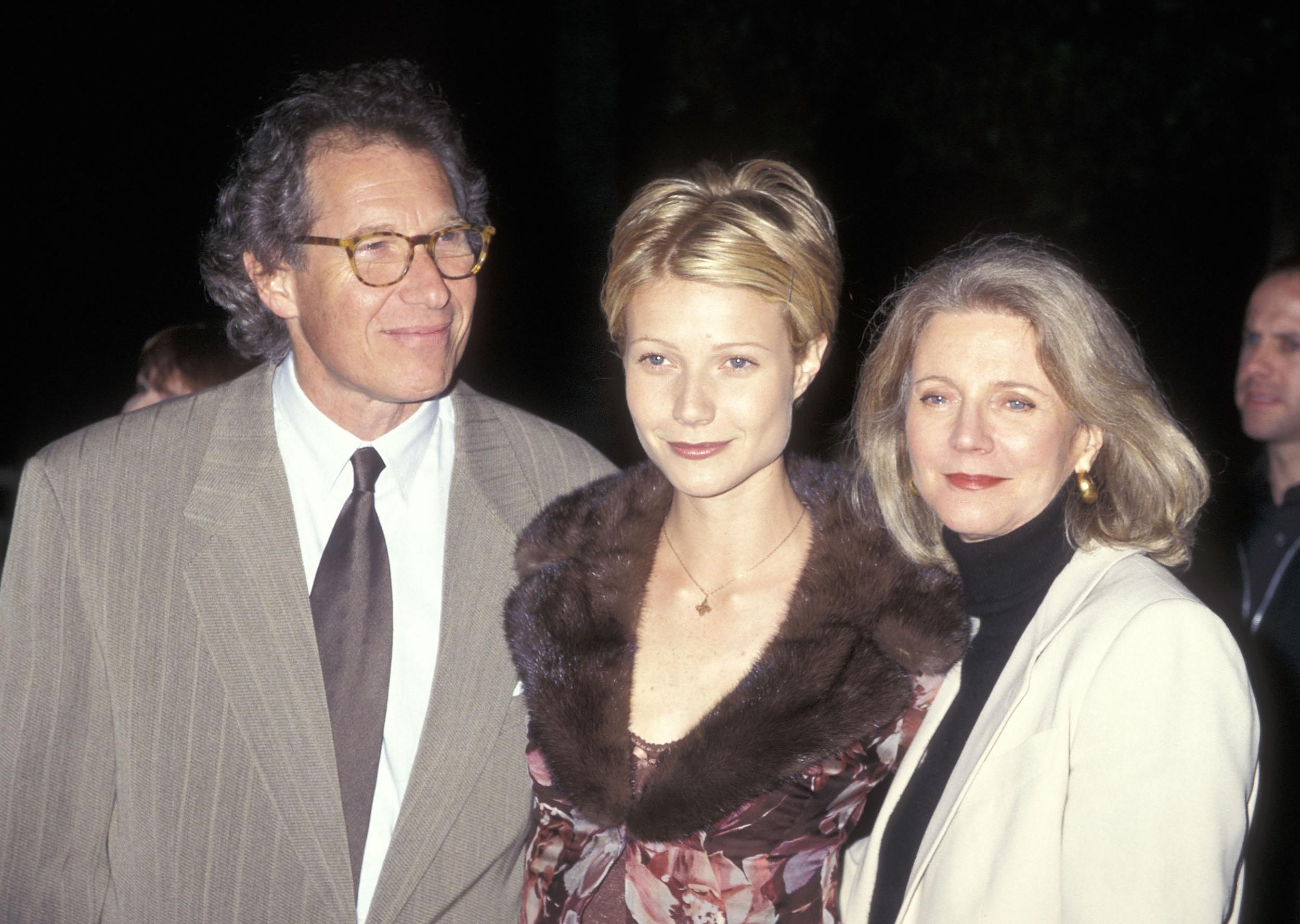 Producer Bruce Paltrow, actress Gwyneth Paltrow and actress Blythe Danner attend the 'Hard Eight' Hollywood Premiere on February 23, 1997 at Paramount Theatre in Hollywood, California. (Photo by Ron Galella, Ltd./WireImage)