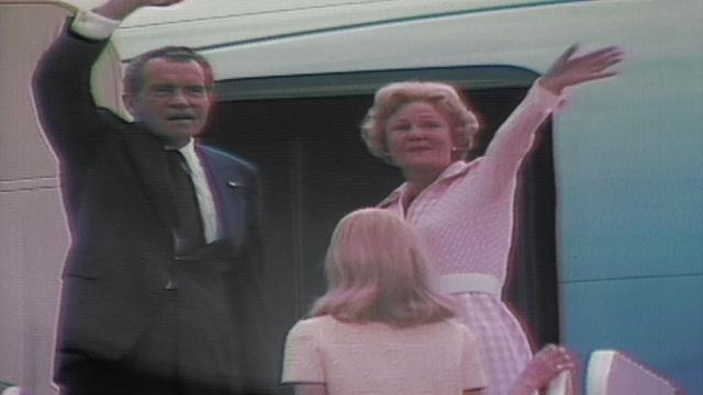 Richard Nixon departs from Washington for the last time as president