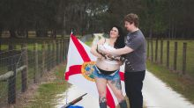 Florida woman's pregnancy photo shoot with baby alligator goes viral