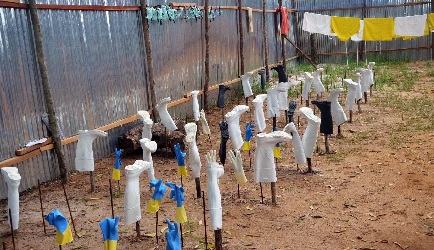 Protective gear used by health workers dries after being used in a treatment room in the ELWA hospital in the Liberian capital Monrovia during the Ebola outbreak, July 24, 2014