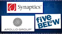 Top Tickers: Synaptics, Five Below, Apollo Group