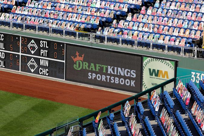 PHILADELPHIA, PA - SEPTEMBER 20:  A general view of the Draft Kings sign on the right field wall  during the Major League Baseball game between the Philadelphia Phillies and the Toronto Blue Jays on September 20, 2020 at Citizens Bank Park in Philadelphia, PA.   (Photo by Rich Graessle/Icon Sportswire via Getty Images)