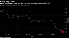 China's 10-Year Bond Yield Falls to 3% for First Time Since 2016