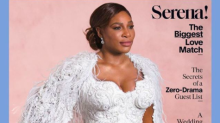 Serena Williams models Versace wedding dress for magazine shoot