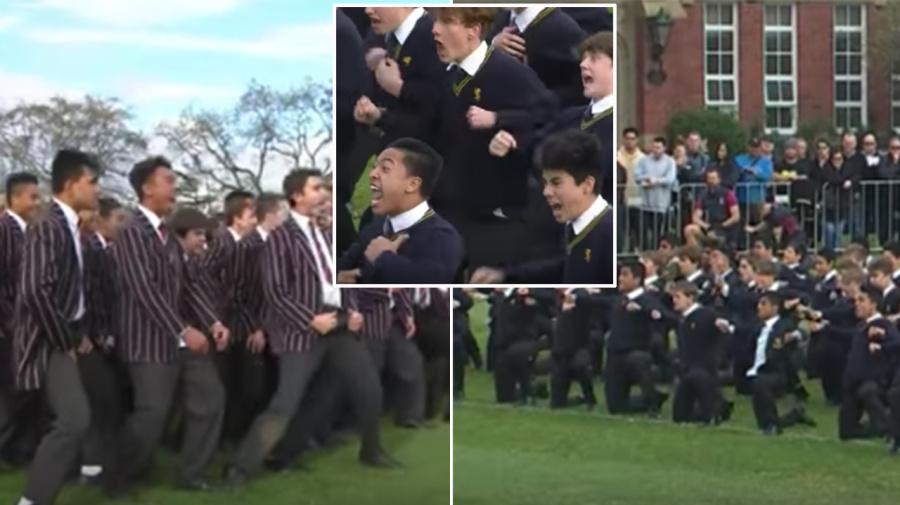 Rival schools' spine-tingling Haka showdown
