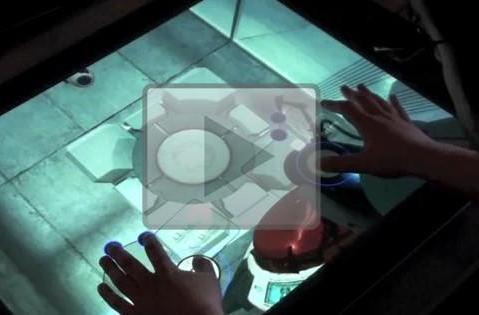Portal and Flight Simulator played on Microsoft Surface