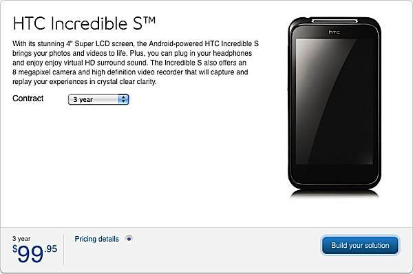 HTC Incredible S hits Bell for $99