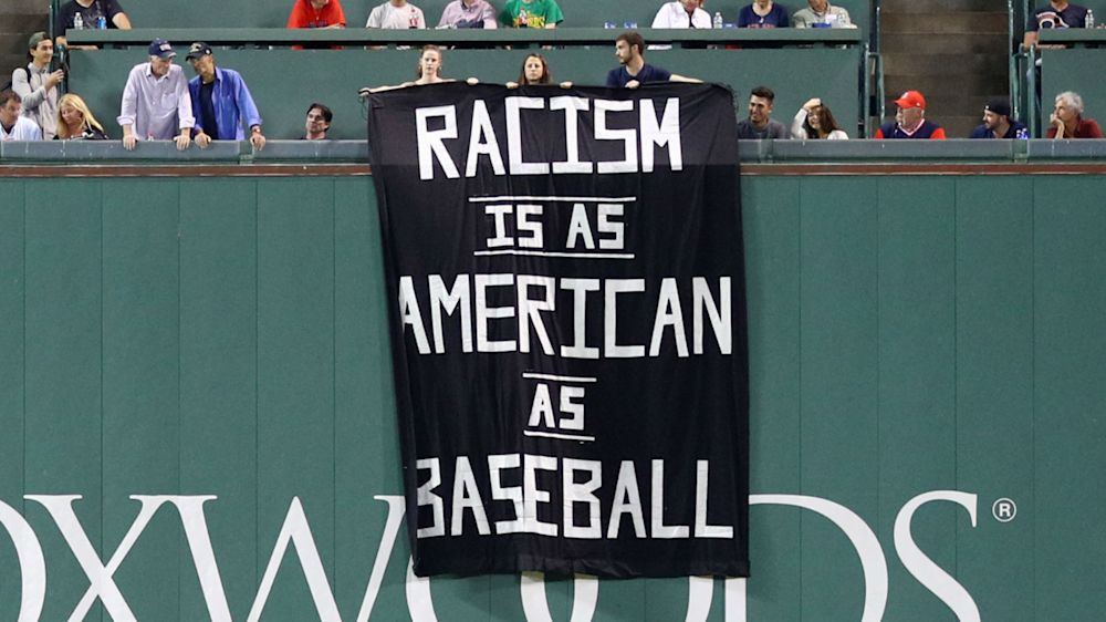 'Racism is as American as baseball' banner removed from Fenway Park