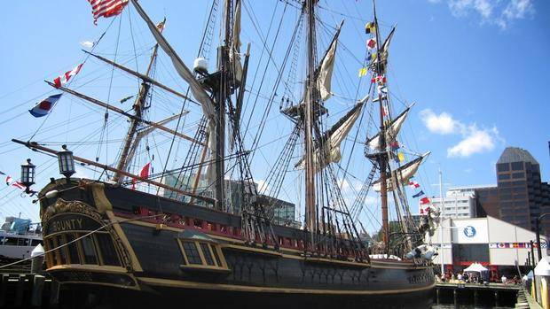 The replica of HMS Bounty was built in Lunenburg and launched in 1960. It was most recently in Halifax in July for the Tall Ships Festival.
