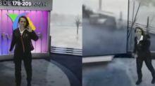 TV Azteca sorprende con sus efectos especiales de un monstruoso huracán... y por la actuación de su presentadora