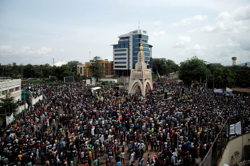 Supporters of Imam Mahmoud Dicko and other opposition political parties protest against President Ibrahim Boubacar Keita in Bamako