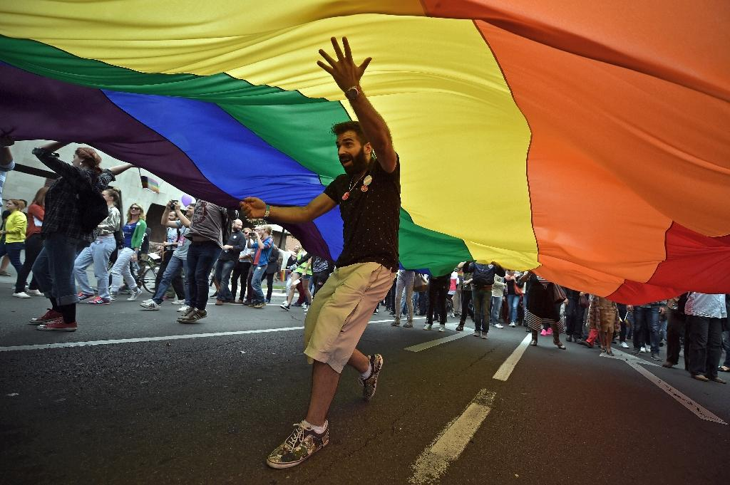 A participant of the Belgrade Gay Pride parade walks underneath a giant rainbow flag on September 20, 2015 (AFP Photo/Andrej Isakovic)