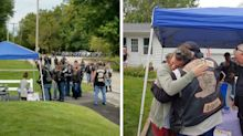 Bikers stop at lemonade stand of little girl whose mother helped them after crash