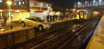 'Confused' driver ends up dangling off train platform