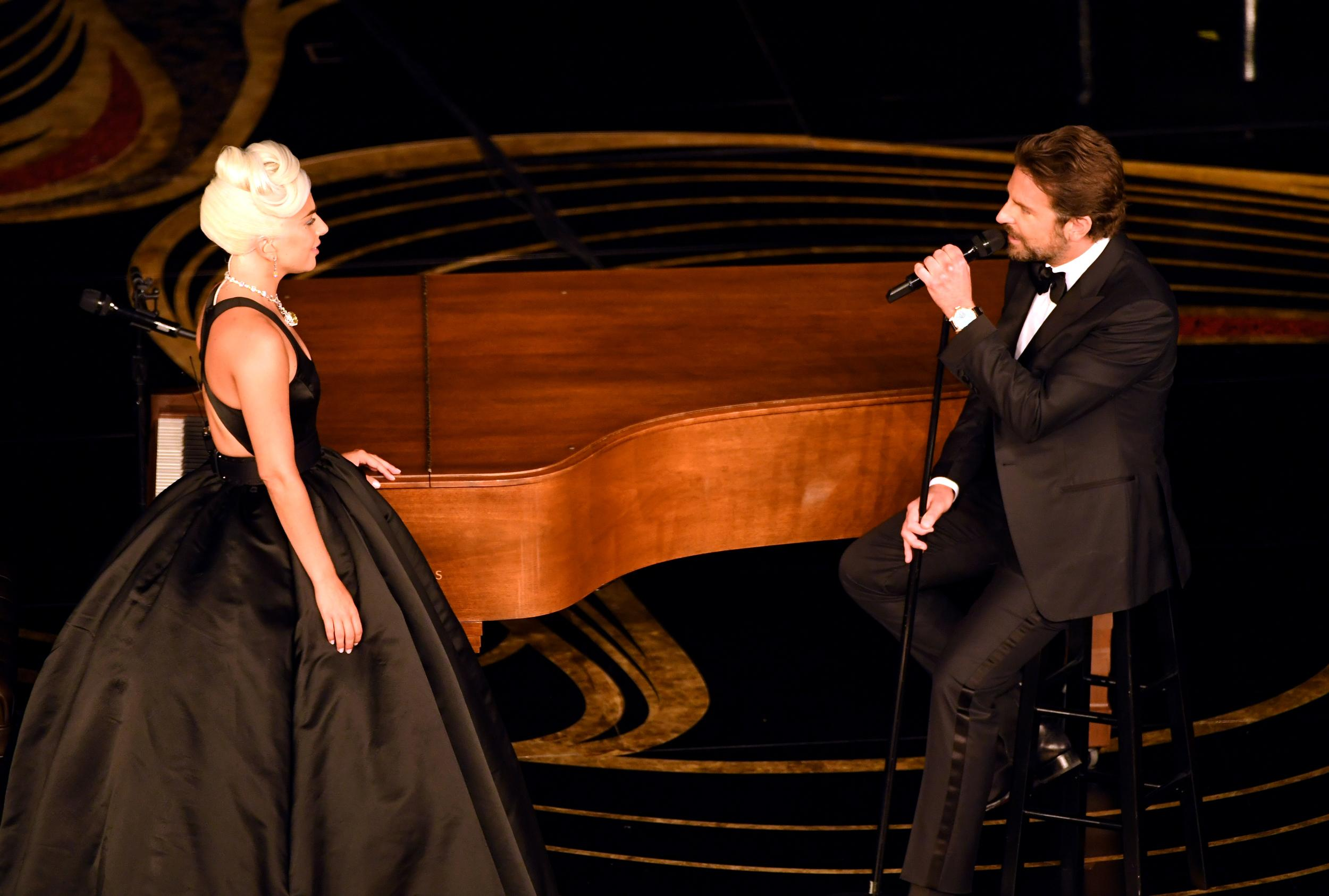 HOLLYWOOD, CALIFORNIA - FEBRUARY 24: (L-R) Lady Gaga and Bradley Cooper perform onstage during the 91st Annual Academy Awards at Dolby Theatre on February 24, 2019 in Hollywood, California. (Photo by Kevin Winter/Getty Images)