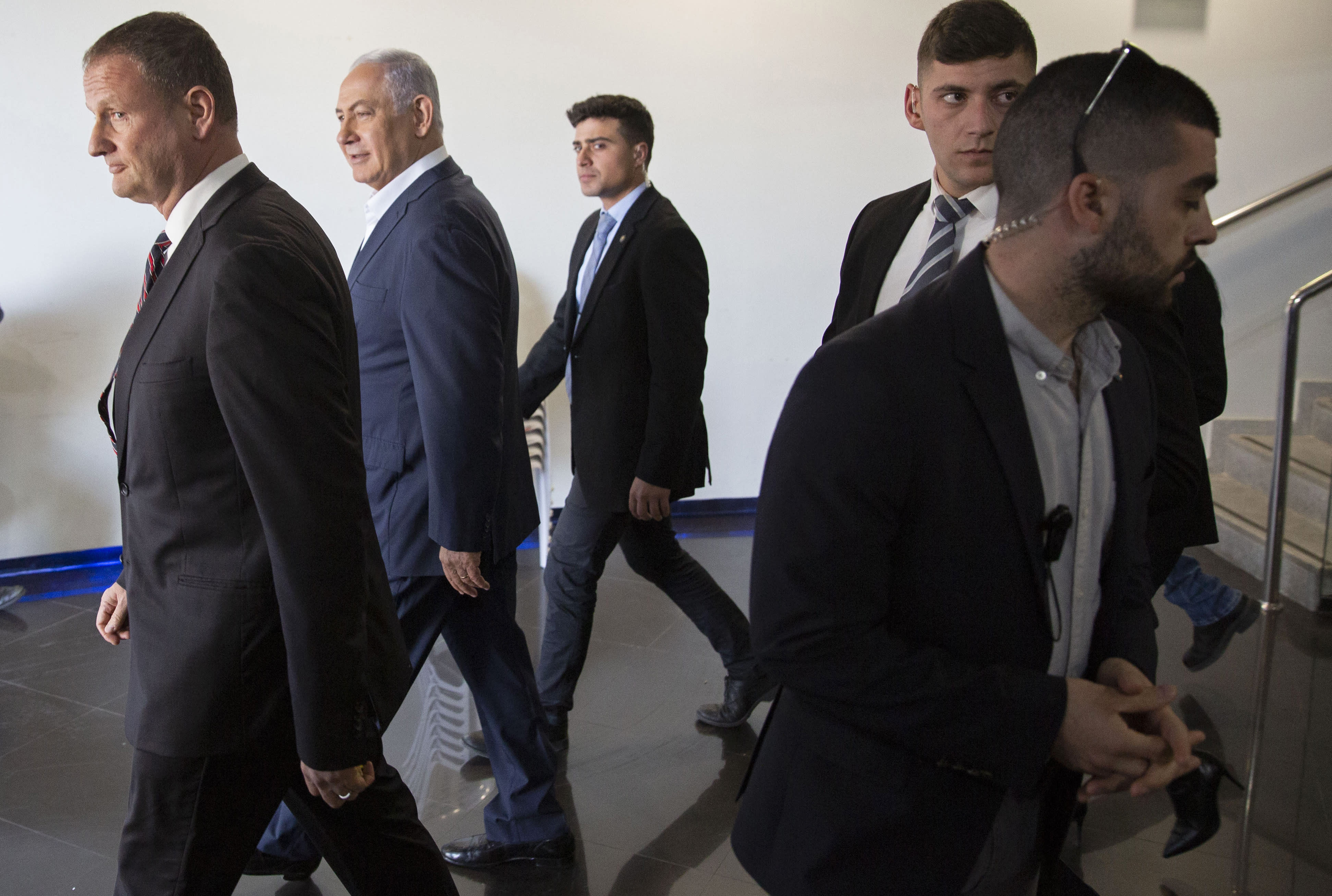 Israeli Prime Minister Benjamin Netanyahu visits the Israel Aerospace Industries (IAI) MLM Division plant in Be'er Ya'akov, Israel, Tuesday, Jan. 22, 2019. Israel said Tuesday that it has successfully tested the Arrow-3 interceptor, the country's advanced missile defense system capable of defending against ballistic missile threats outside the atmosphere. (Tomer Appelbaum/Pool Photo via AP)