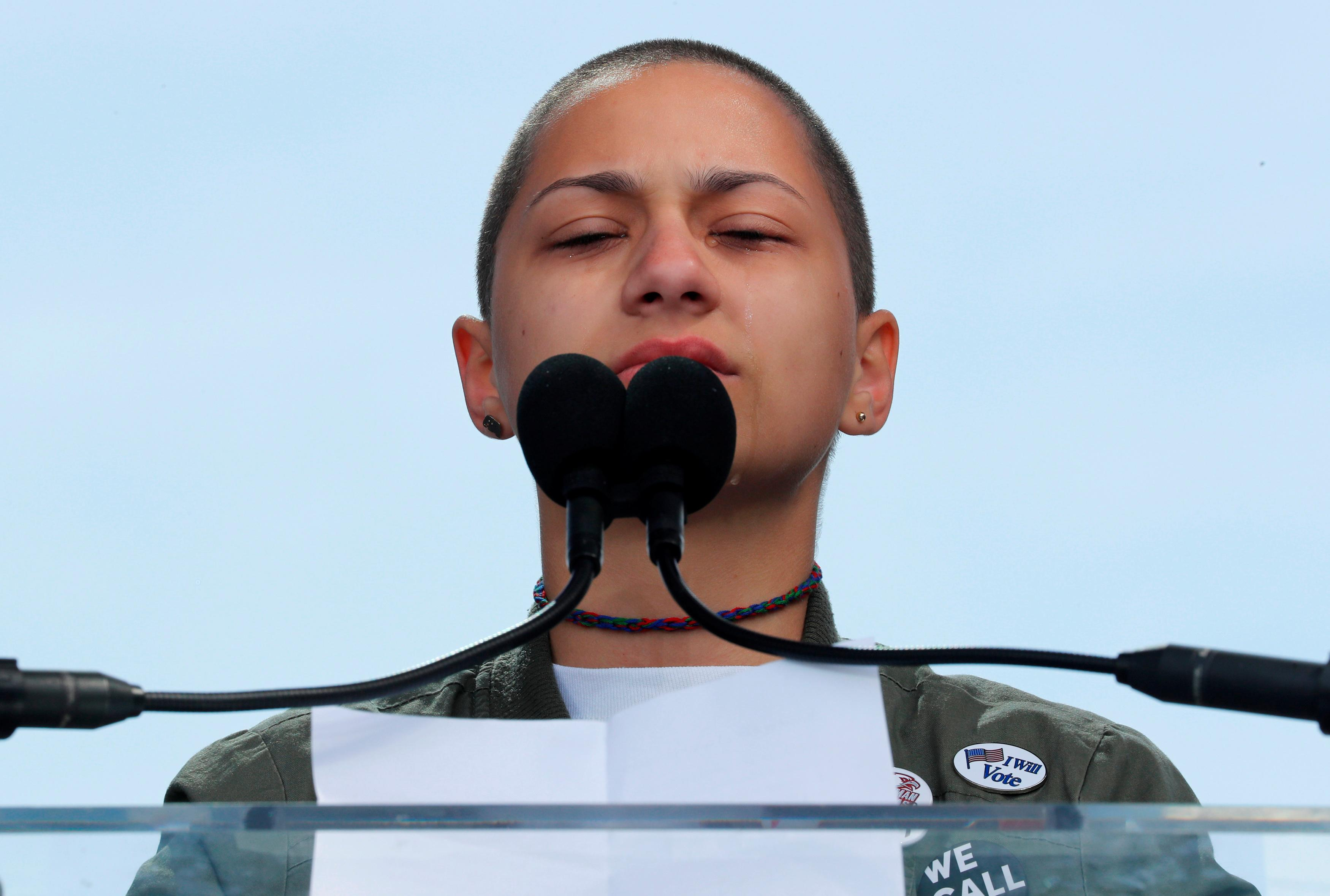 """Emma Gonzalez, a student and shooting survivor from the Marjory Stoneman Douglas High School in Parkland, Florida, cries as she addresses the conclusion of the """"March for Our Lives"""" event demanding gun control after recent school shootings at a rally in Washington, U.S., March 24, 2018. REUTERS/Jonathan Ernst     TPX IMAGES OF THE DAY"""