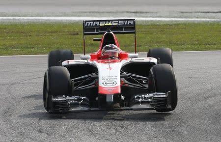 Marussia Formula One driver Chilton of Britain drives during the Malaysian F1 Grand Prix at Sepang International Circuit outside Kuala Lumpur