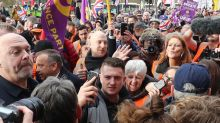 Ukip Brexit 'betrayal' march led by Tommy Robinson 'outnumbered' by counter-protesters
