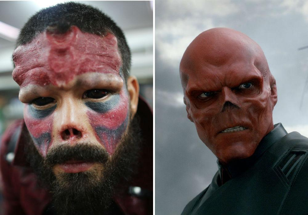 Comic book fan has implants put in his face and part of his nose CHOPPED OFF to fulfil his dream of looking like Captain Americas enemy Red Skull