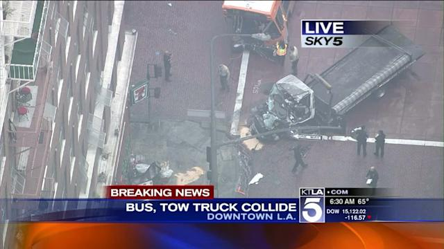 Bus, Tow Truck Collide in Downtown L.A.