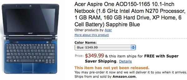 Acer Aspire One D150 with N270 previewed, now available for US pre-order