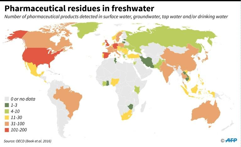 Pharmaceutical residues in freshwater (AFP Photo/)