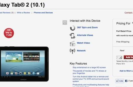 Samsung Galaxy Tab 2 10.1 with LTE now available at Verizon, $500 sans contract