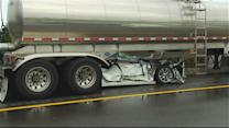 Car Wedged Under Tanker, Injuring Two Kids