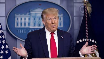 Trump touts good news despite virus surge
