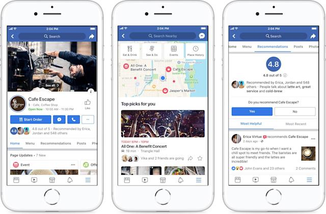 Facebook's revamped Pages help you find local businesses