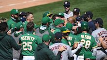 Astros and A's brawl after Ramón Laureano gets hit twice and charges Houston dugout