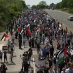 Pro Palestinian rally held during Biden visit