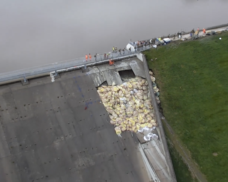 Drone Footage Shows Efforts to Stabilize Whaley Bridge Dam