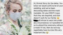 Coronavirus: Bride shares guest's 'ridiculous' mask demand