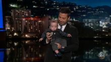 Kimmel takes infant son onstage in emotional return, slams Congress over health care