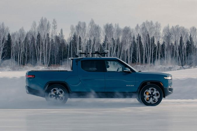 Rivian R1T electric truck in cold weather testing