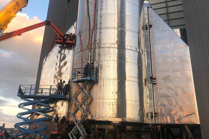 SpaceX Starship SN8 prototype rocket with flaps